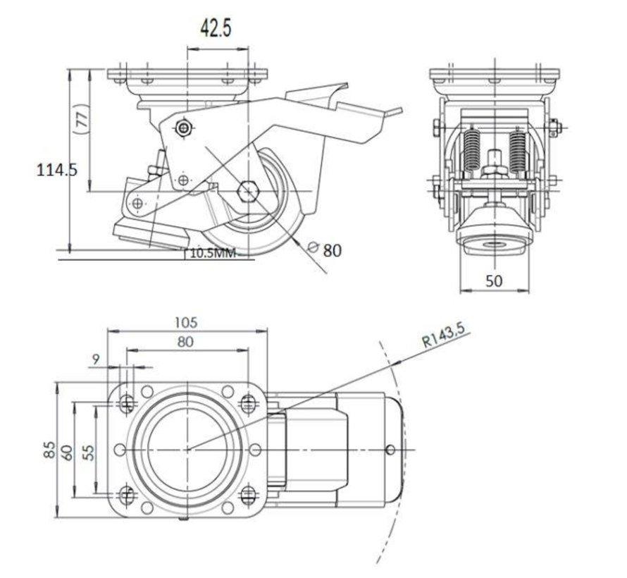 Nożny zestaw do poziomowania z nylonowym kołem 80x40 mm, ładowność 350 kg - Łatwa obsługa za pomocą pedału nożnego