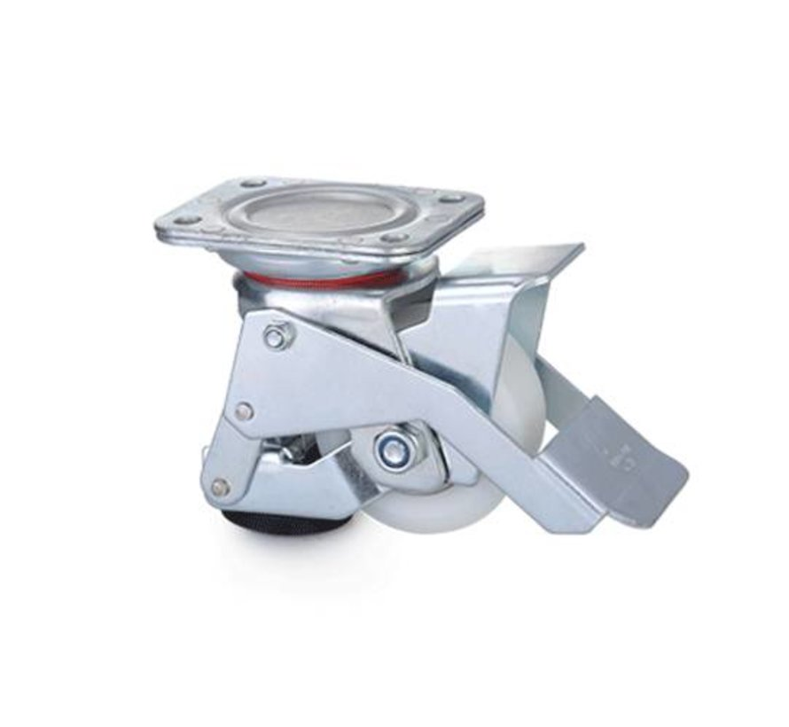 Foot operated Leveling caster with 80x40mm nylon wheel, load capacity 350KG - Easy Handling with foot pedal