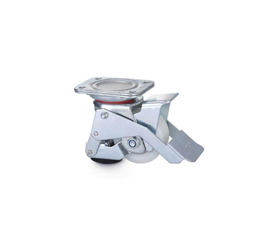 Fußbetätigte Nivellierrolle mit 80 x 40 mm Nylonrad, Tragfähigkeit 350 kg - Einfache Handhabung mit Fußpedal