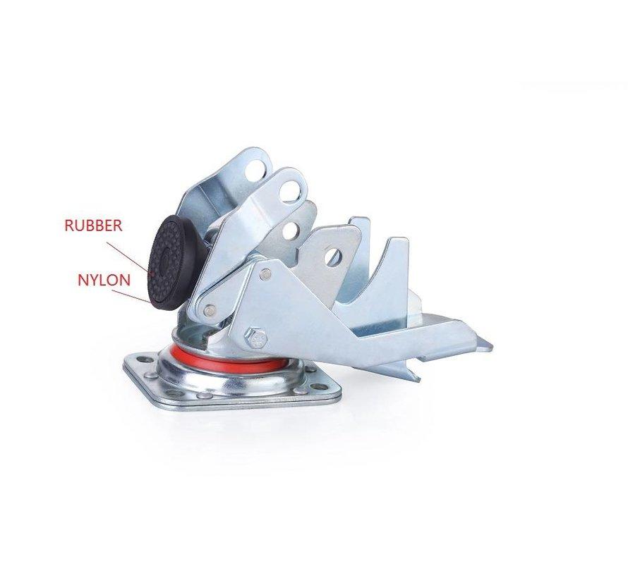Fotdrivna nivelleringshjul med 80x40mm nylonhjul, lastkapacitet 350KG - Enkel hantering med fotpedal