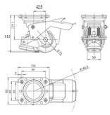 Fodbetjent nivellering fast Caster med 75x40mm polyurethan hjul slidbane, bæreevne 300KG