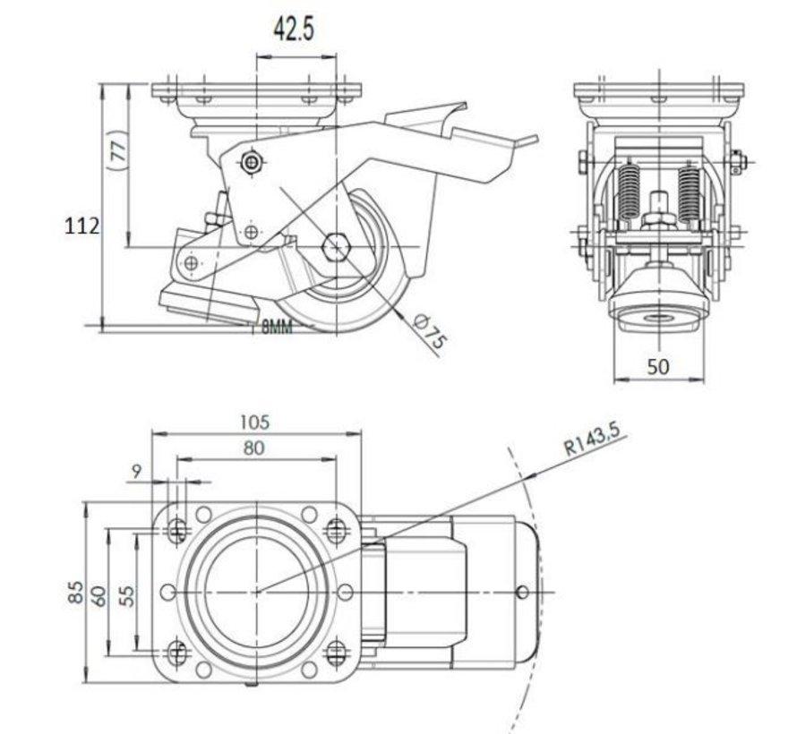 Fotmanövrerad Utjämning fast Caster med slit 75x40mm polyuretanhjul, lastkapacitet 300KG