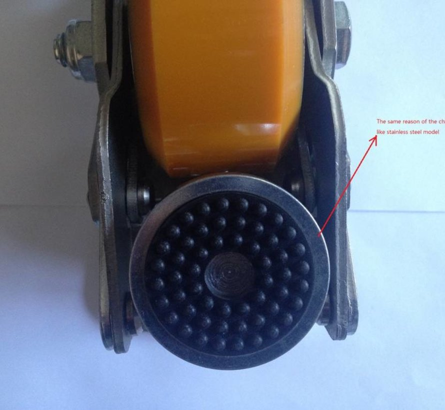 Foot operated Leveling Caster with 75x40mm polyurethane wheel tread, load capacity 300KG.
