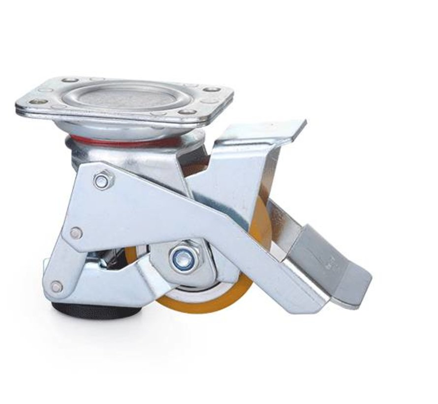 Nożne poziomowanie stałe Caster koła z bieżnikiem poliuretanowym 75x40mm, ładowność 300KG