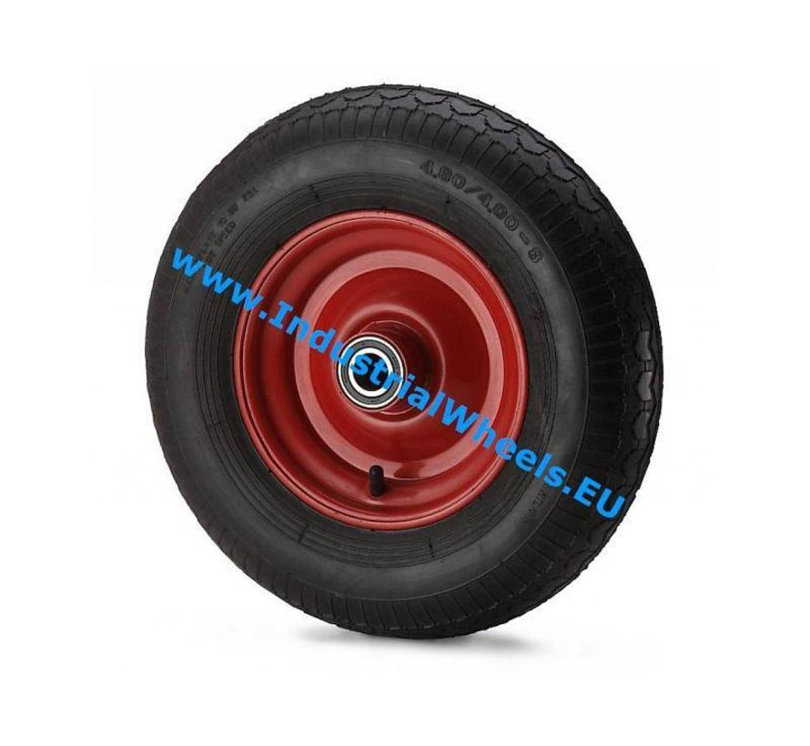 Carrelli per Movimentazione Industriale Ruota  gomma pneumatica profilo scolpito, mozzo su cuscinetto a rulli, Ruota -Ø 400mm, 250KG