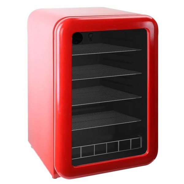 Rode retro koelkast glazen deur