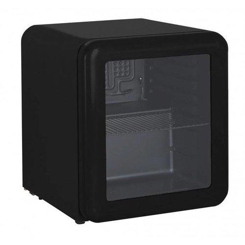 Retro mini koelkast glazen deur - Zwart