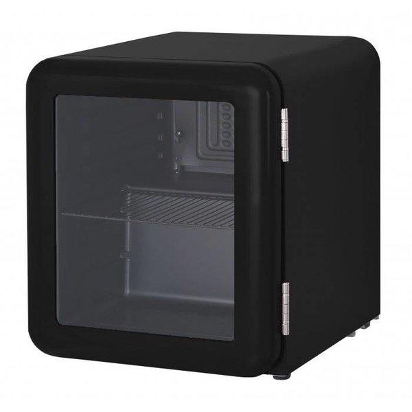 Zwarte retro mini koelkast glazen deur