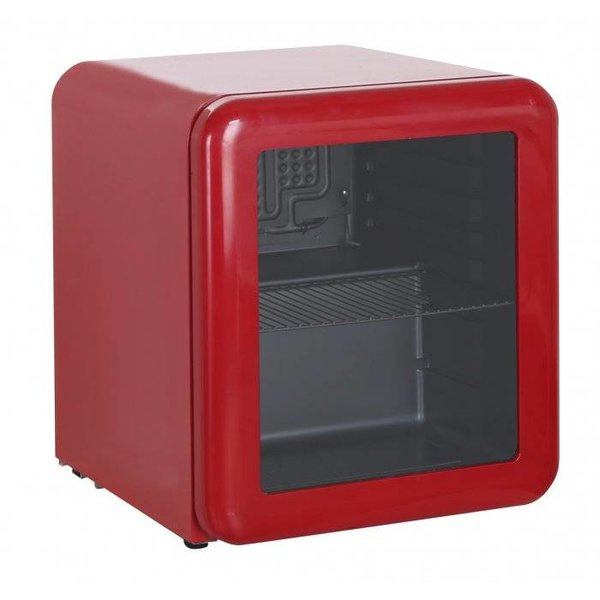 Rode retro mini koelkast glazen deur