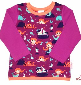 Langarmshirt, Meerjungfrau mit Wal, violett, orange, türkis, dunkelblau, Gr. 74, 80, 86, 92, 98, 104, 110, 116