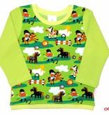 Buntes Langarmshirt, Pony Pferde und Reiter auf gelbgrün, Gr. 74, 80, 86, 92, 98, 104, 110, 116