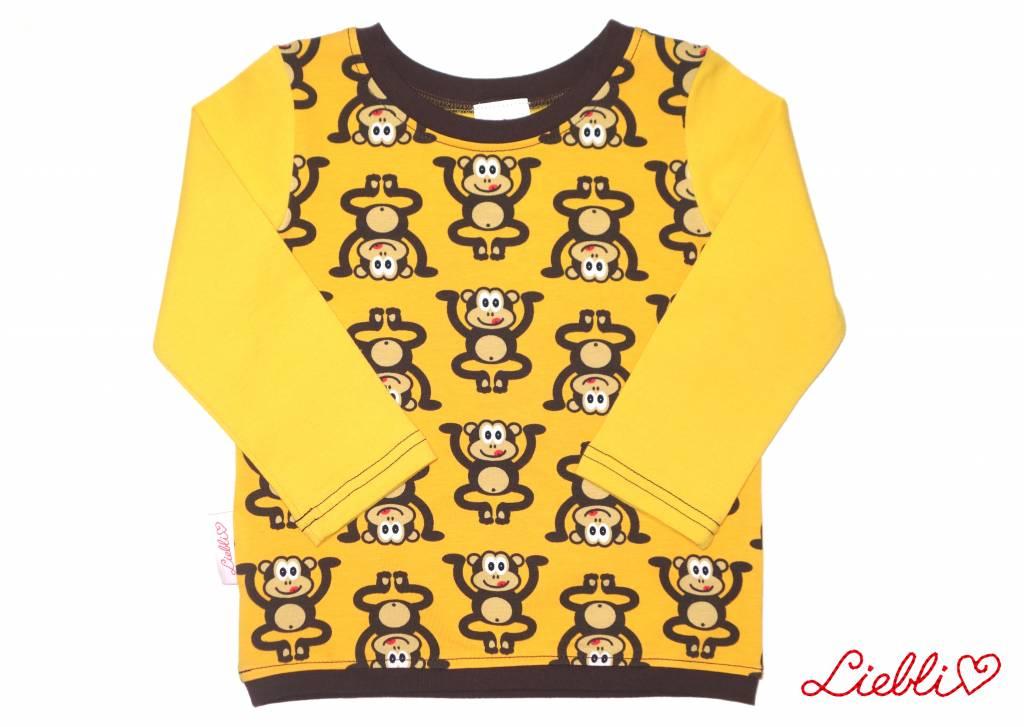 Buntes Langarmshirt, Affen auf gelb, Gr. 74, 80, 86, 92, 98, 104, 110, 116