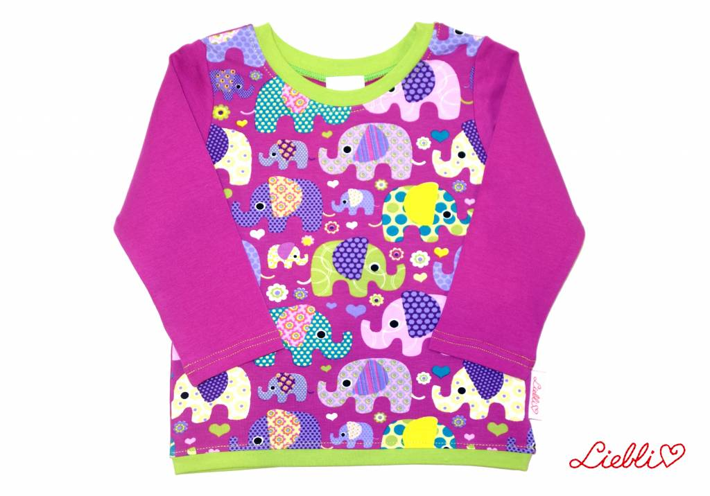 Langarmshirt, bunte Elefanten auf lila, Gr. 74, 80, 86, 92, 98, 104, 110, 116