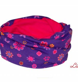 Loopschal warm, Blumen, lila, pink, orange