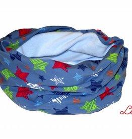 Loopschal warm, bunte Sterne auf jeansblau