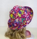 Jersey Mädchen-Sonnenhut Elefanten auf lila