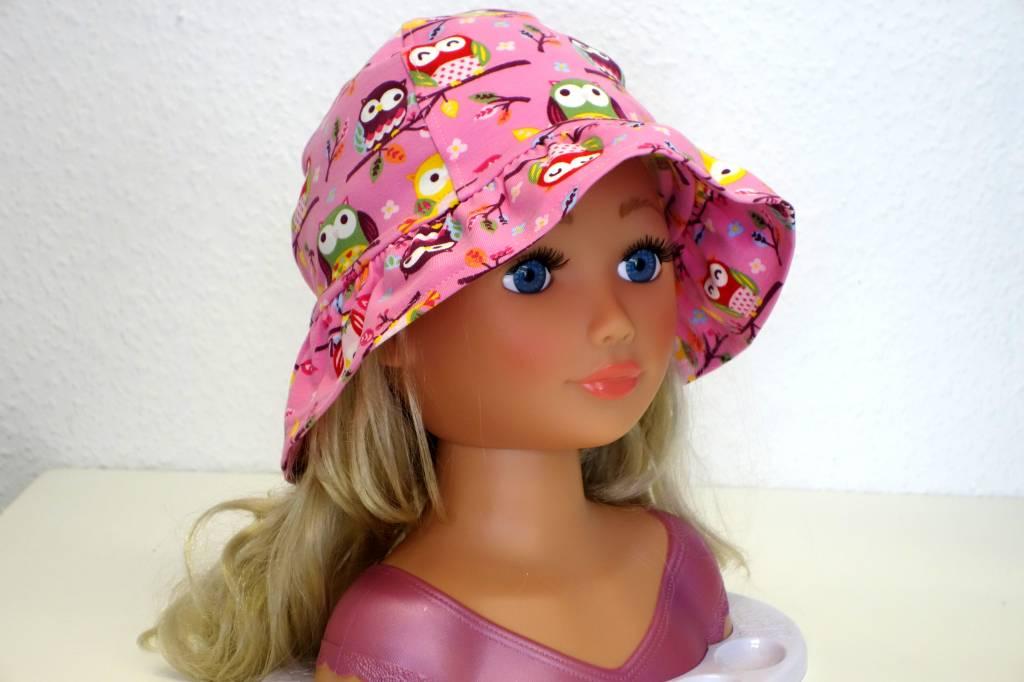 Jersey Mädchen-Sonnenhut Eulen auf rosa