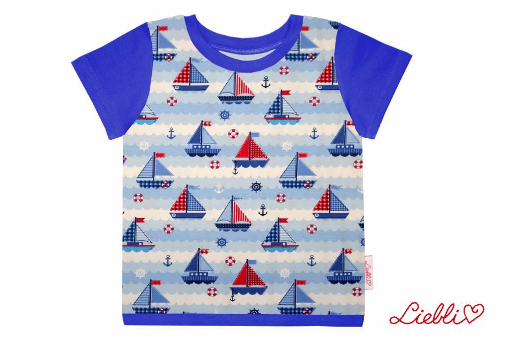 T-Shirt kurzarm, Schiffe blau rot weiss, Ärmeln blau
