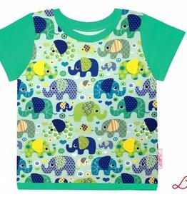 T-Shirt kurzarm, Elefanten auf mintgrün, Ärmeln grün