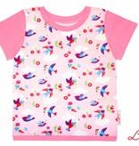 T-Shirt kurzarm, bunte Vögel auf rosa