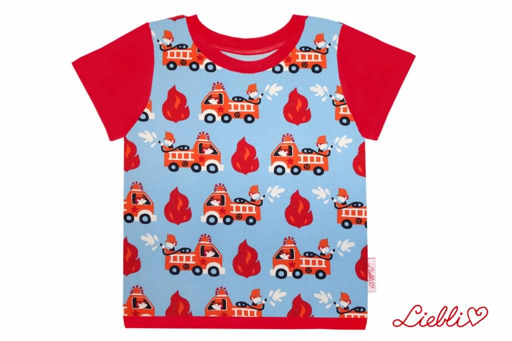 T-Shirt kurzarm, Feuerwehrautos auf hellblau