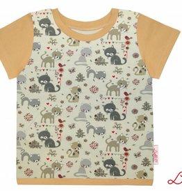 T-Shirt kurzarm, Katzen auf hellbeige, Ärmeln hellbraun