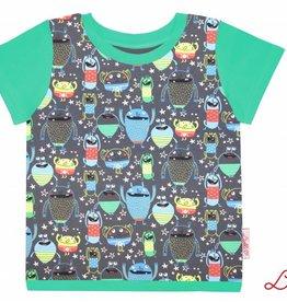 T-Shirt kurzarm, Monster auf grau, Ärmeln grün
