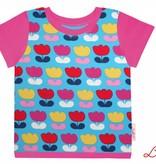 T-Shirt kurzarm, bunte Tulpen auf türkis, Ärmeln pink