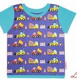 T-Shirt kurzarm, Baufahrzeuge auf blau, Ärmeln türkis