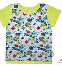 T-Shirt kurzarm, coole Fische, Ärmeln kiwigrün