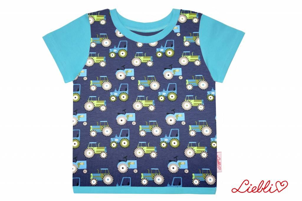 T-Shirt kurzarm, Traktor auf dunkelblau, Ärmeln türkis