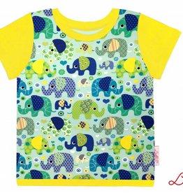 T-Shirt kurzarm, Elefanten auf mintgrün, Ärmeln gelb