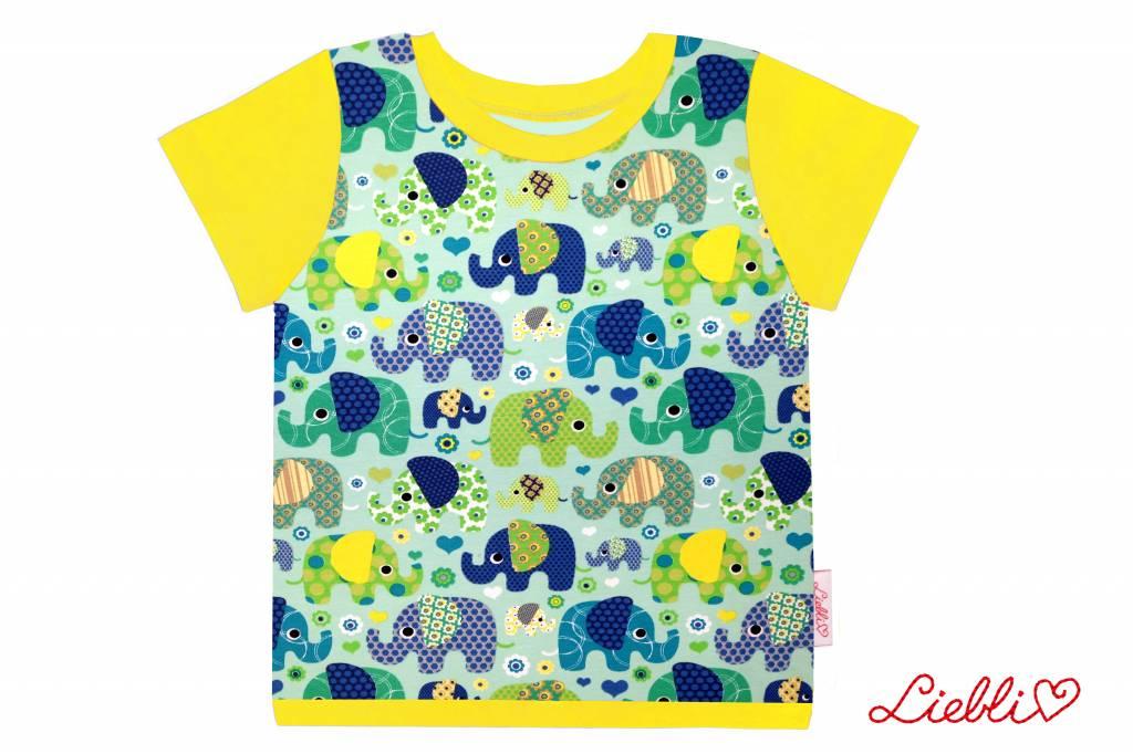 T-Shirt kurzarm, Elefanten auf grün, Ärmeln gelb