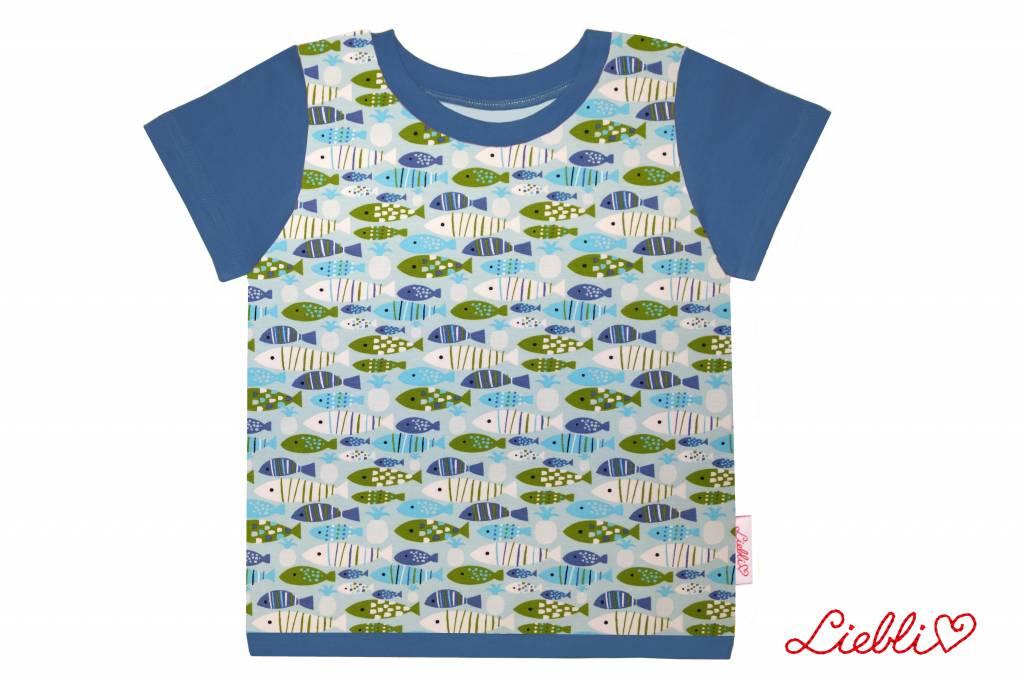 T-Shirt kurzarm, Fische blau grün weiss, Ärmeln blau