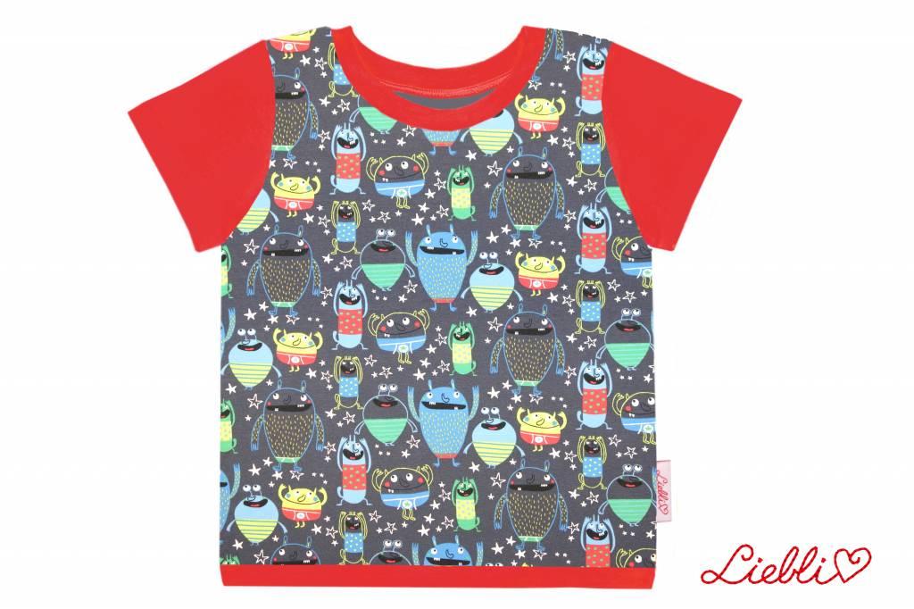 T-Shirt kurzarm, Monster auf grau, Ärmeln rot