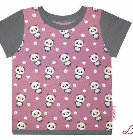 T-Shirt Kurzarm, Pandas auf hellviolett,  Ärmeln grau