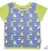 T-Shirt kurzarm, Schiffe blau grün weiss,  Ärmeln grün