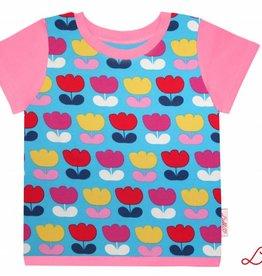 T-Shirt kurzarm, bunte Tulpen auf türkis,  Ärmeln rosa