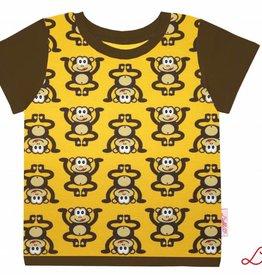 T-Shirt kurzarm, Affen auf gelb, Ärmeln braun