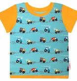 T-Shirt kurzarm, Bagger und Traktor auf türkis, Ärmeln orange