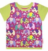 T-Shirt kurzarm, Elefanten auf lila, Ärmeln kiwigrün