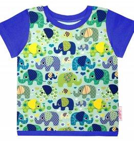 T-Shirt kurzarm, Elefanten auf mintgrün, Ärmeln royalblau