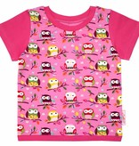T-Shirt kurzarm, Eulen auf rosa, Ärmeln pink