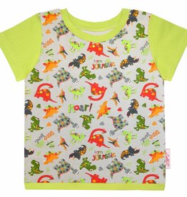 T-Shirt kurzarm, Dinos auf grau, Ärmeln grün