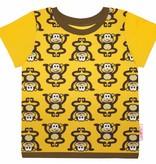 T-Shirt kurzarm, Affen auf gelb, Ärmeln gelb