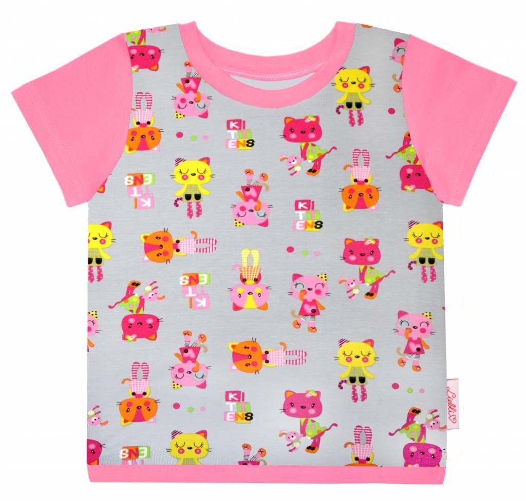 T-Shirt kurzarm, bunte Katzen auf hellgrau