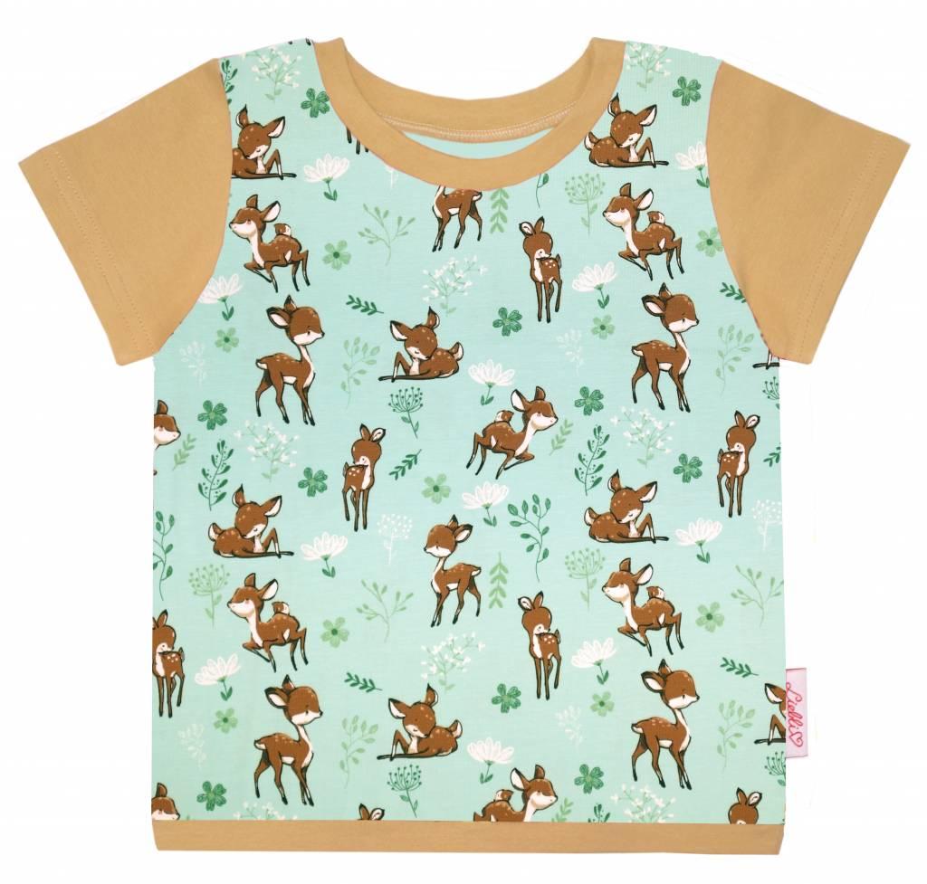 T-Shirt kurzarm, kleines Reh auf mintgrün