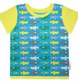 T-Shirt kurzarm, bunte Haie auf türkis, Ärmeln gelbgrün