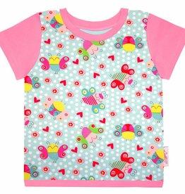 T-Shirt kurzarm, Schmetterlinge auf mintgrün, Ärmeln rosa