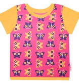 T-Shirt kurzarm, Schmetterlinge auf pink, Ärmeln orange